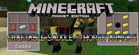 Мод Craftable Saddle & Horse Armors для Minecraft PE 0.15.4/0.15.3 /0.15.2 /0.15.1/0.15.0