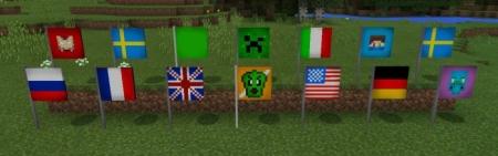 Аддон на новые флаги в MCPE 1.0.6, 1.0.4, 1.0.0